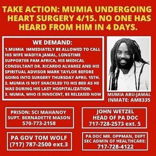 Urgente: Mumia Abu-Jamal sarà sottoposto ad un intervento chirurgico al cuore