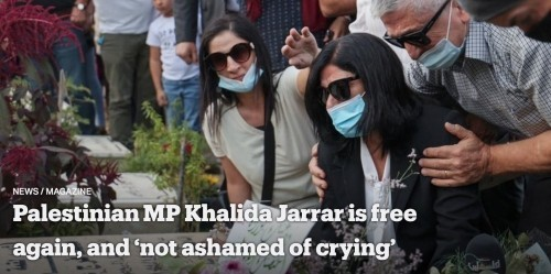 """La deputata palestinese Khalida Jarrar è di nuovo libera e """"non si vergogna di piangere"""""""