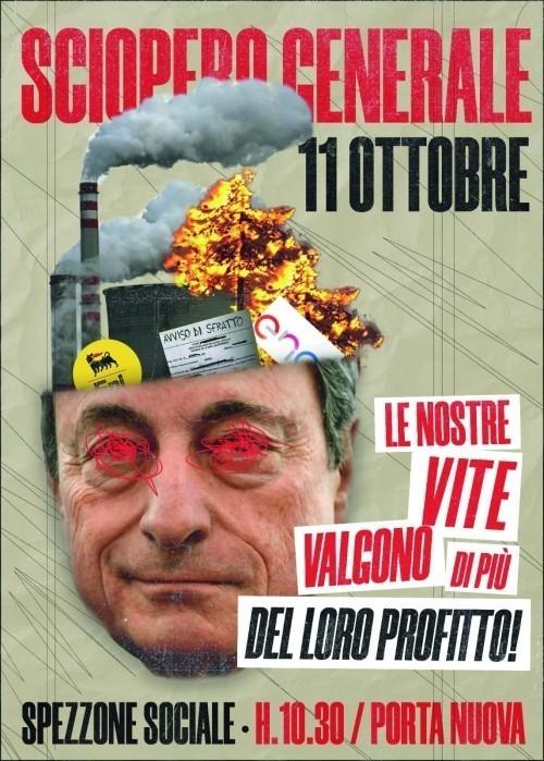 Torino: sciopero generale, uno spezzone sociale contro lo sblocco degli sfratti, dei licenziamenti ed il caro-bollette